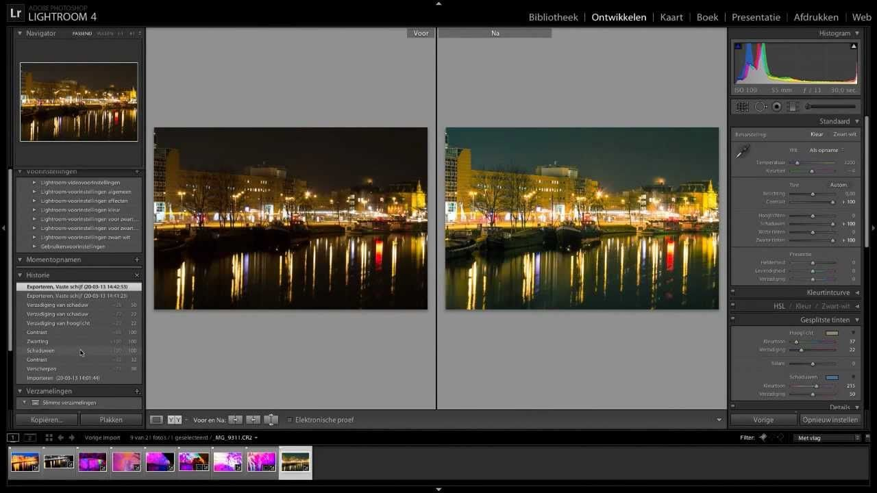 Lightroom tutorial - videotraining nachtfotografie