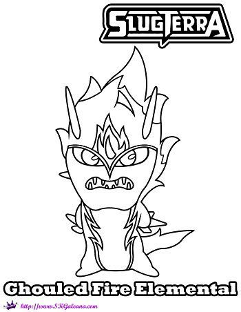 Ghoul Fire Elemental Coloring Page From Slugterra Return Of The Elementals Coloring Pages Monster Coloring Pages Owl Coloring Pages