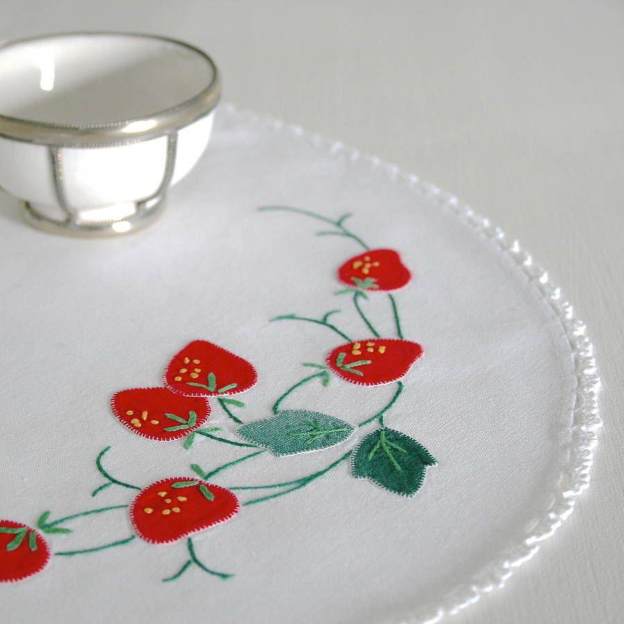 Vintage Strawberry Appliqué Tray Cloth