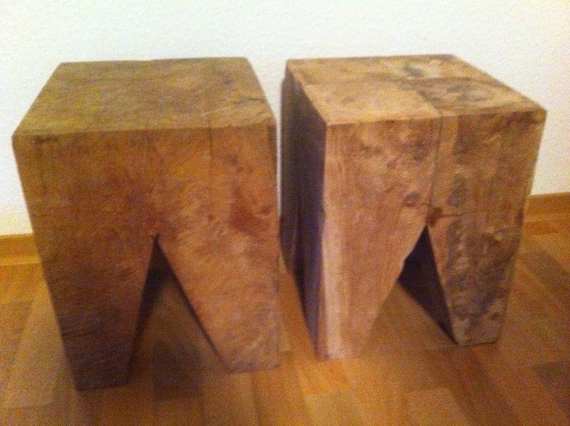 Teak-Holz-Hocker+auch+Beistelltisch+von+vintage-living-outlet+auf+