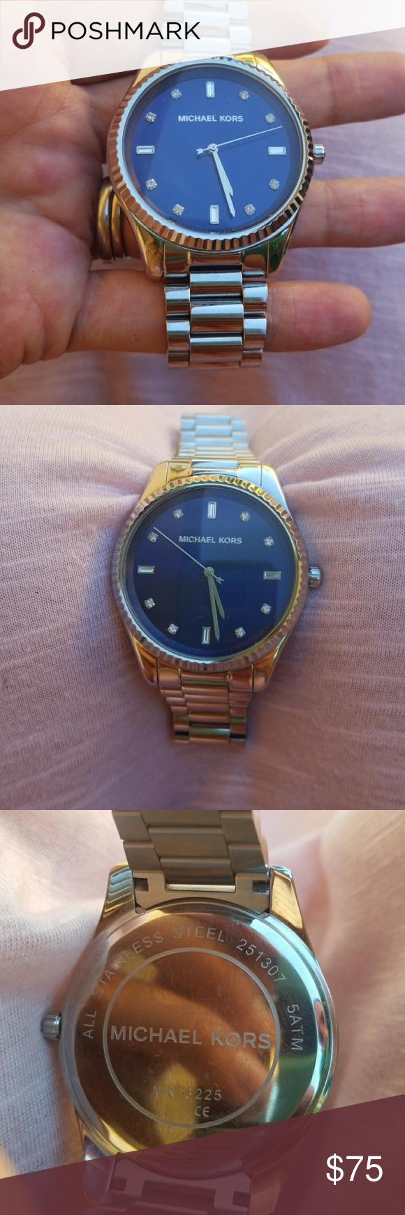 864b5c679e57 Michael Kors Blake MK3225 Blue Dress Watch Stainless Steel - Worn maybe  twice. Slight mark on watch face and back. Michael Kors Accessories Watches