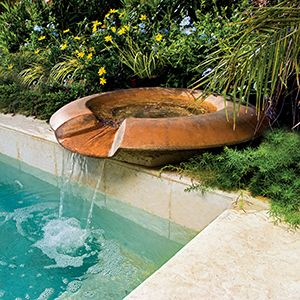Pool Fountains Add A Decorative Touch And The Soothing Effects Pool Fountain Pool Water Features Swimming Pool Waterfall