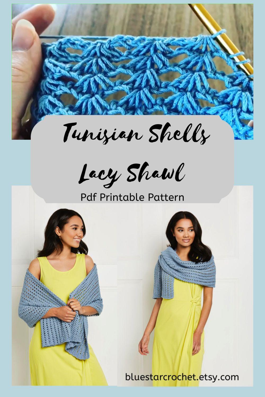 Photo of Tunisian Lacy Shells Shawl crochet pattern