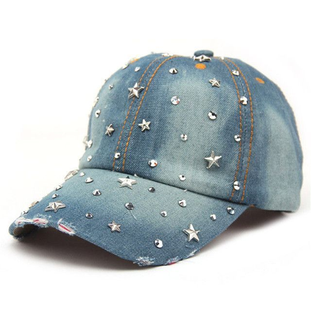 ef6adabd8ca VONRU Brand New Denim Hats Fashion Leisure Woman Cap with Stars Rhinestones  Vintage Jean Cotton Baseball Caps for Men Hot Sale