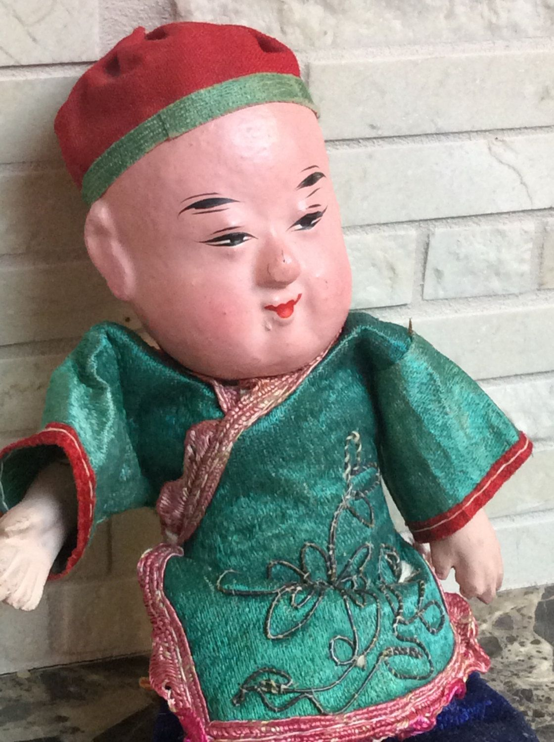Papier Mache Asian, Vintage or Antique 8 Inch High Doll by TheHUNTantiques on Etsy