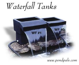 Waterfall tanks pond filters ponds fountains water for Homemade waterfall filter