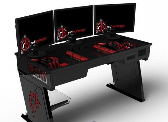red harbinger a pc inside a desk dubbed the cross it comes with