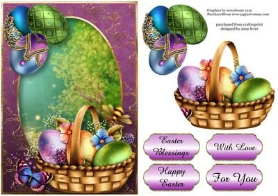 Sumptuous Easter Greetings on Craftsuprint designed by Anne Lever - This lovely topper features a basket of flower adorned easter eggs in a basket, with a bee and a butterfly. It has a single layer of decoupage to add depth and four greetings to choose from. The greetings are, easter blessings, happy easter, with love and for you. - Now available for download!