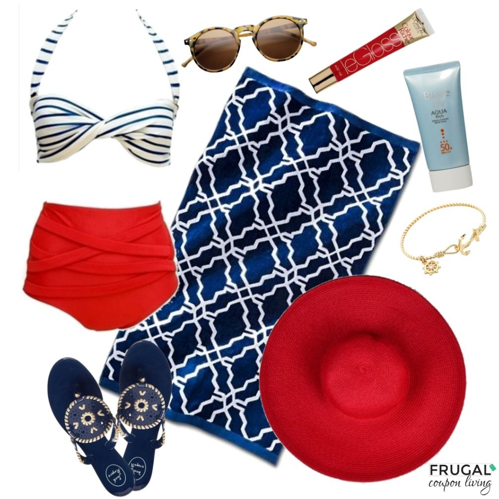 Frugal Fashion Friday Nautical Retro Swimsuit Outfit - Polyvore Outfit of the Day, Retro Look for Summer. Details on Frugal Coupon Living.