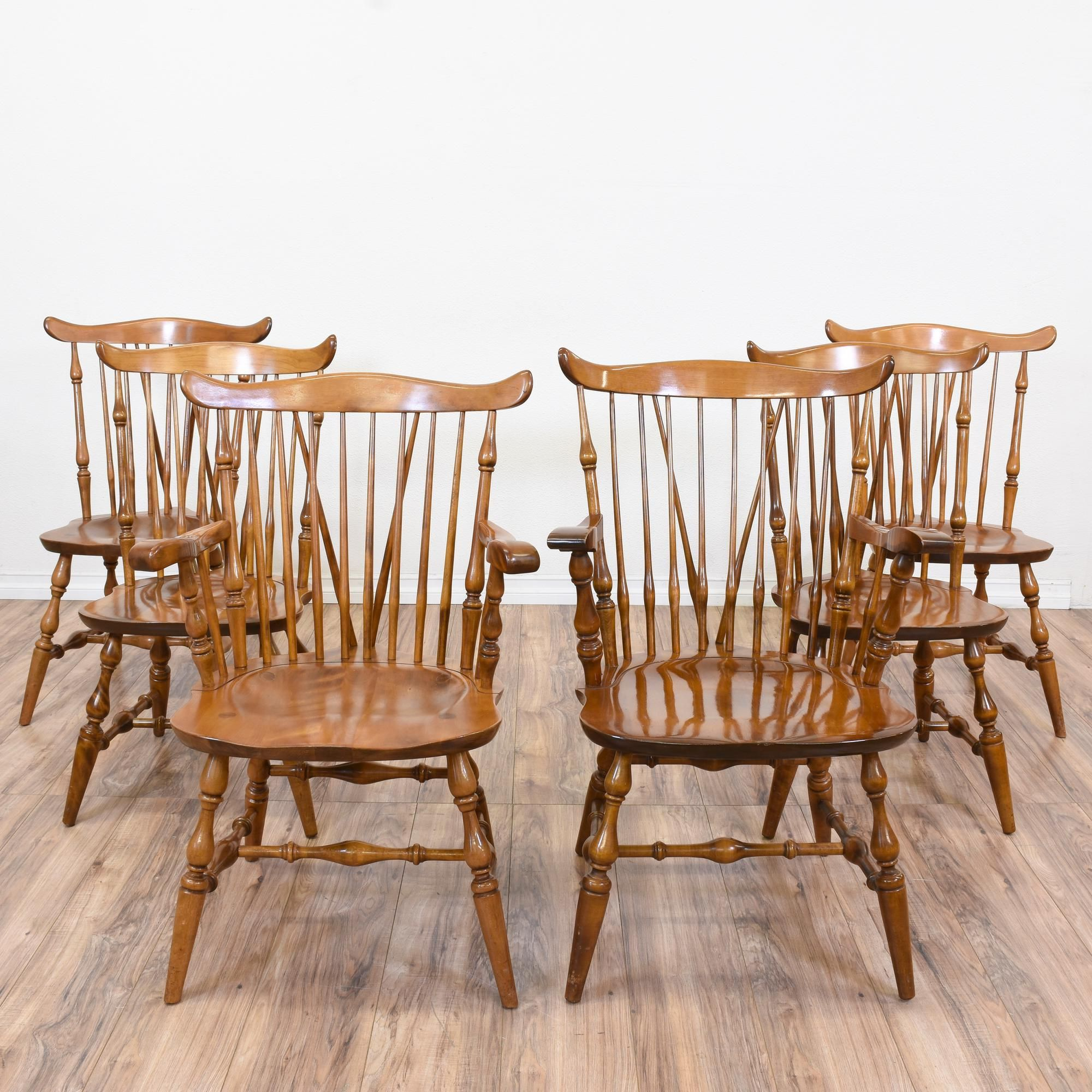"""Set Of 6 """"Nichols & Stone Co."""" Windsor Chairs Dining"""