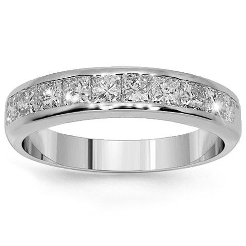 This lovely womens diamond wedding band is handcrafted in lustrous Platinum. Small princess cut diamonds are placed half way around the band and total to 1.00 carats. The frame measures to 1/8 inches in width and weighs 5.7 grams. $2,224.00