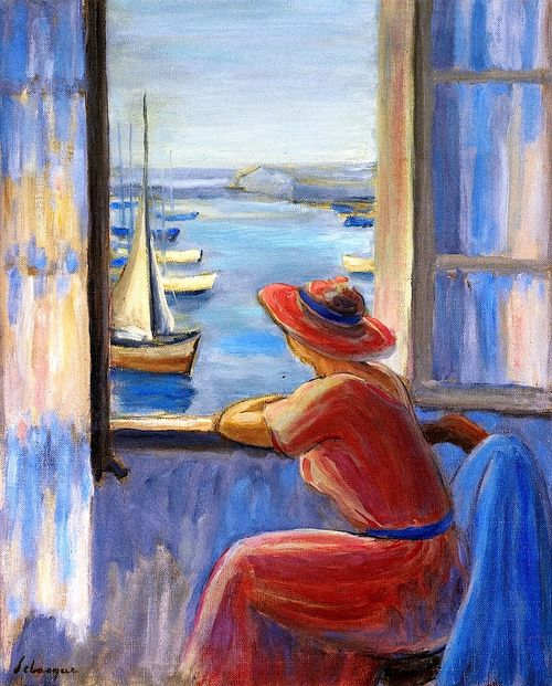 Devant la fenêtre, Ile d'Yeu (Front of the window, Ile d'Yeu) - Henri Lebasque - 1919  - NOTE: Île d'Yeu is an island and commune just off the Vendée coast of western France. The island's two harbours, Port-Joinville in the north and Port de la Meule, located in a rocky inlet of the southern granite coast, are famous for the fishing of tuna and lobster. Source: http://en.wikipedia.org/wiki/%C3%8Ele_d%27Yeu .................#GT
