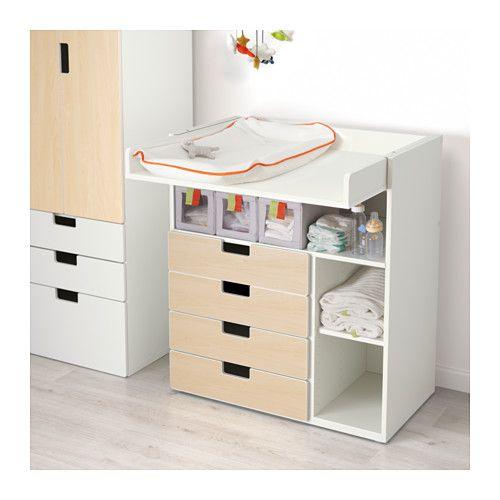 STUVA Table à langer 4 tir - blanc/motif bouleau - IKEA