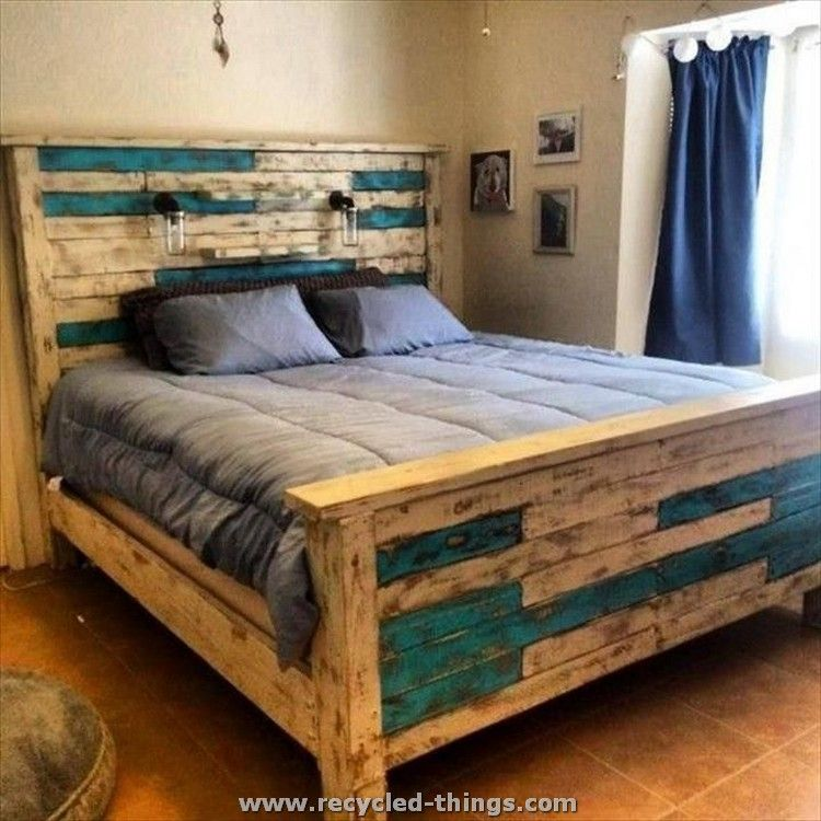 Pallet Queen Size Bed | Country | Pinterest | Camas, Palets y Casas ...
