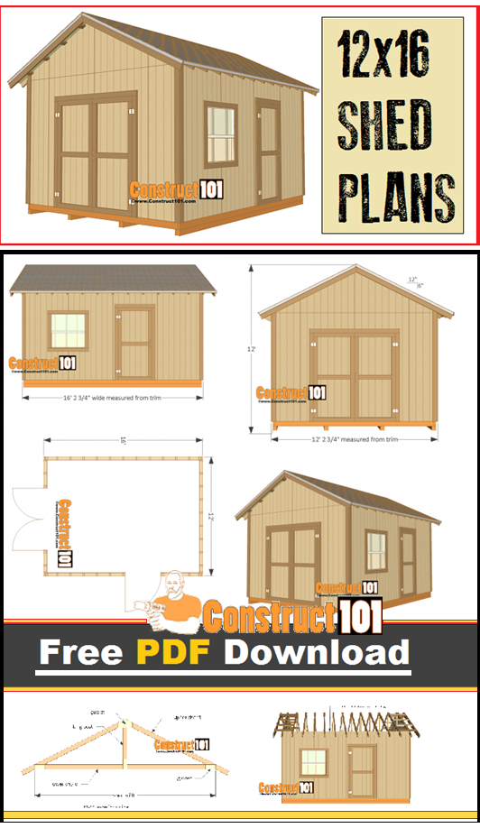 12x16 Shed Plans Gable Design Pdf Download Construct101 Shed Plans 12x16 Storage Shed Plans Diy Shed Plans