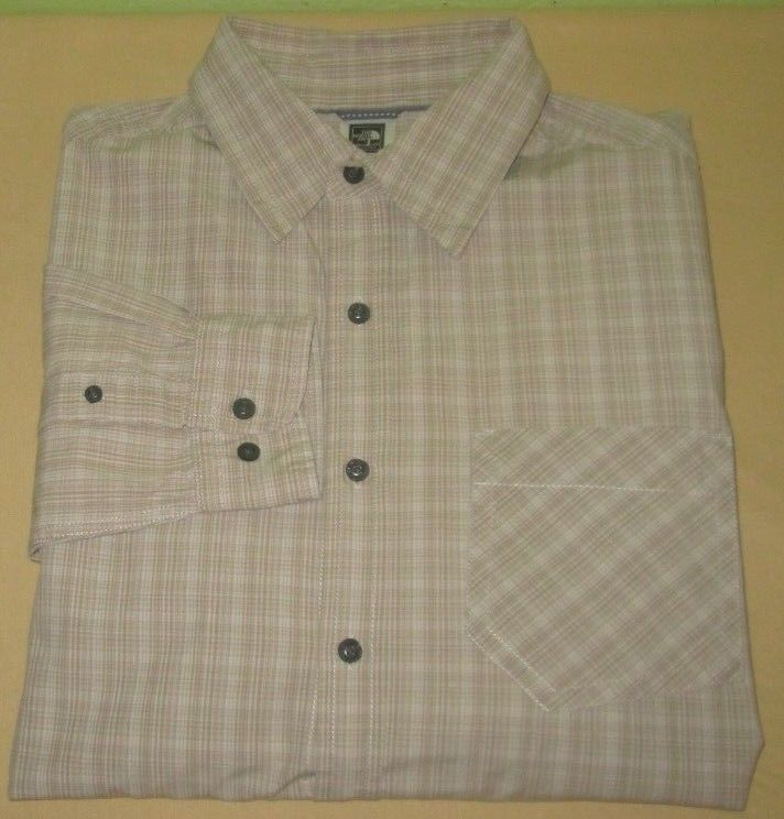 Men's THE NORTH FACE Long Sleeve Casual Outdoors Shirt Sz M Medium Beige Plaid  #TheNorthFace #ButtonFront