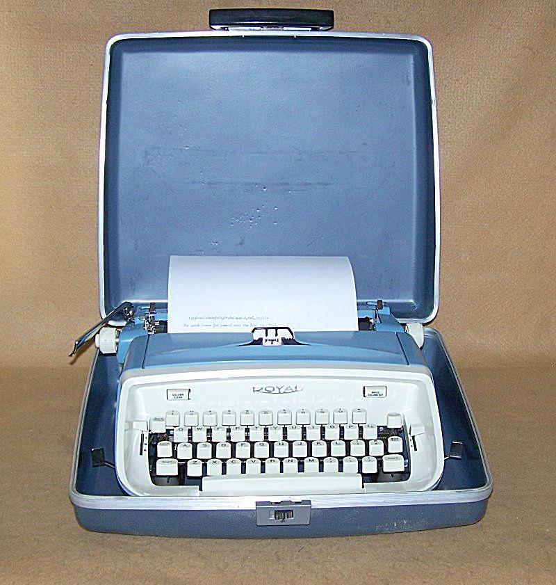 1964 Cool Blue Royal Aristocrat Portable Typewriter