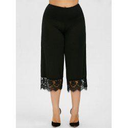 93ea930949b92 Lace Trim Plus Size Capri Palazzo Pants Elastic Waist Solid Online ...