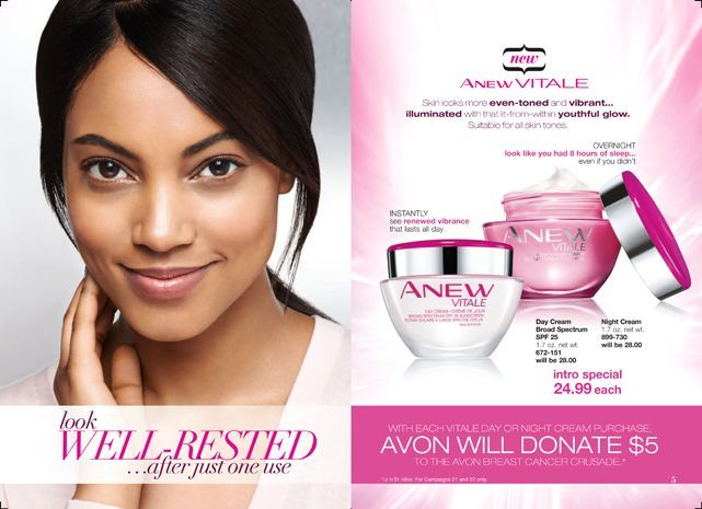 Both will be on sale for $24.99 each and Avon will donate $5 from each day or night cream purchase to the Avon Breast Cancer Crusade. www.youravon.com/lmangat