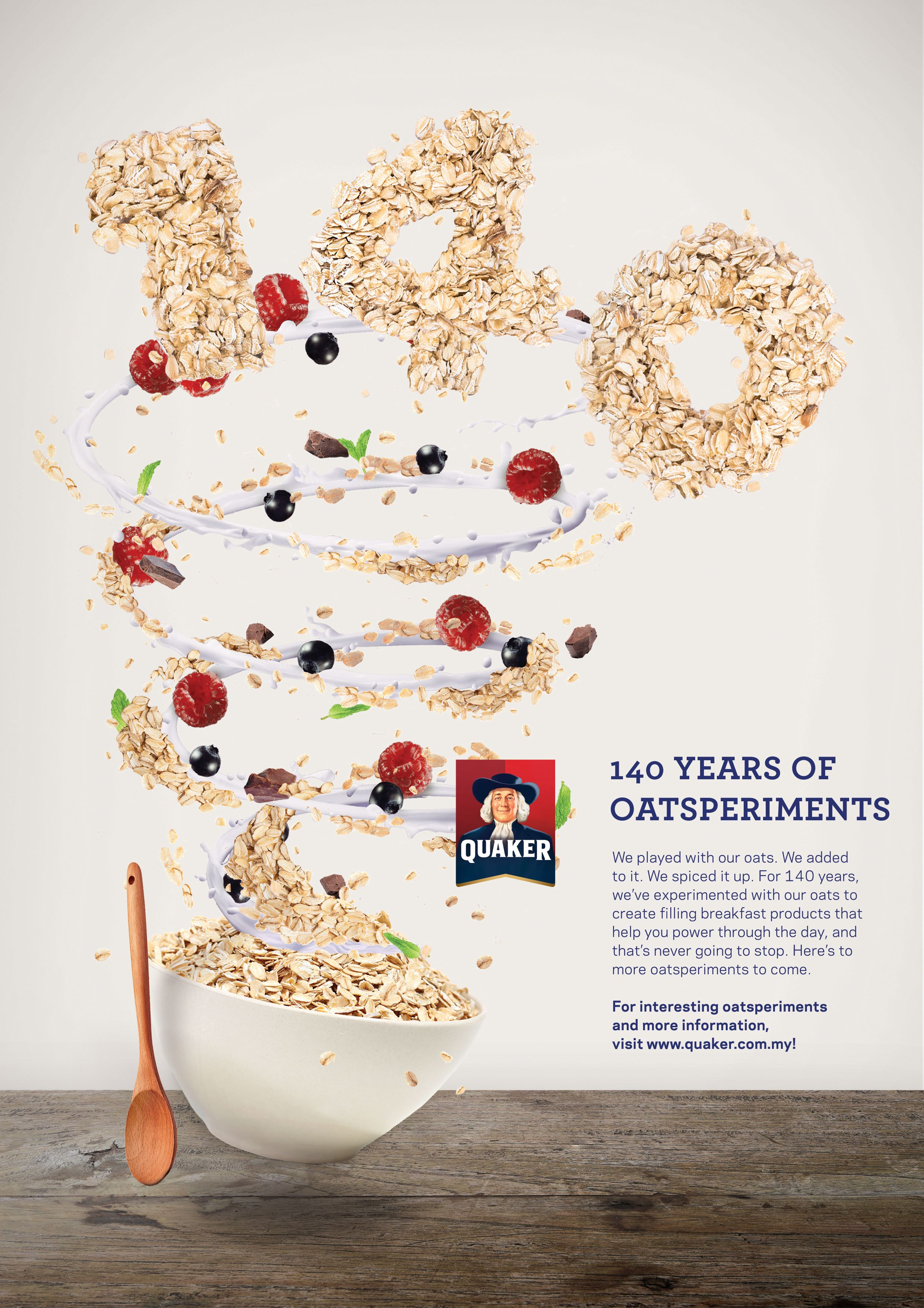 Check Out This Behance Project Quaker Oats Poster 140 Years And Cny Https Www Behance Net Gallery 43533995 Quaker Print Ads Yoghurt Packaging Poster
