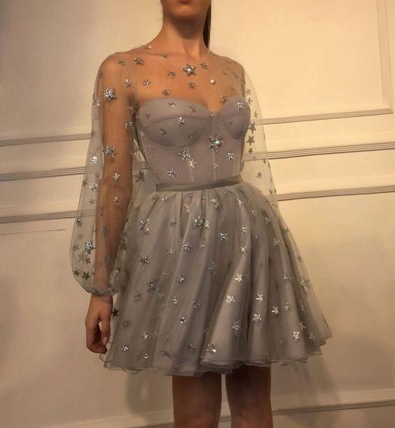 Long Sleeve Silver Prom Dresses Short 2019 Starry Tulle