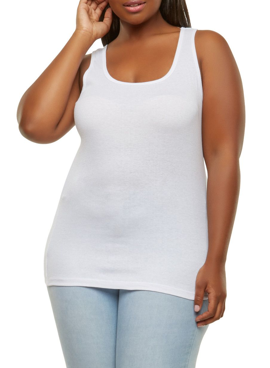 caf52e063 Plus Size Ribbed Knit Tank Top - White - Size 1X