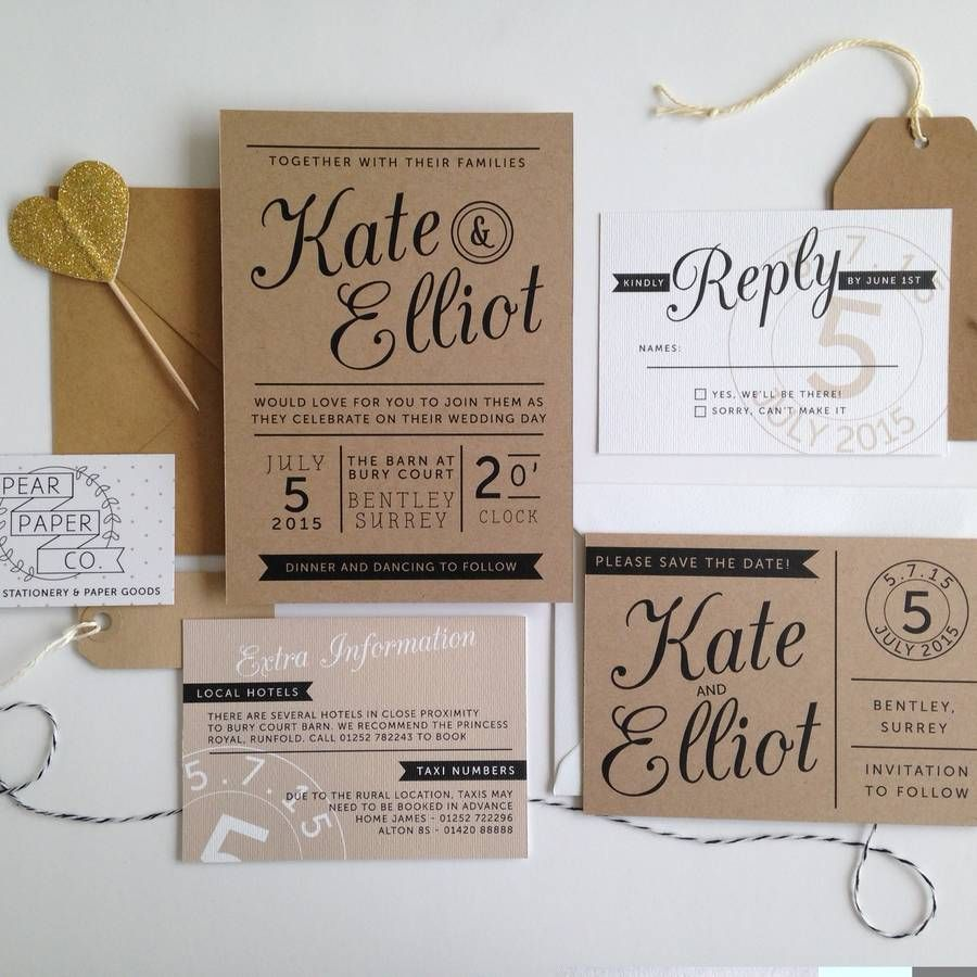 kraft stamp wedding invitation - Paper For Wedding Invitations
