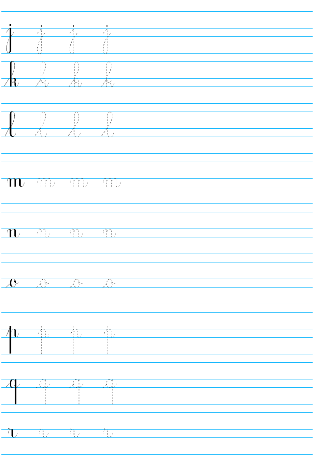 Lettres de l 39 alphabet cursives imprimer de j r - L alphabet en francais a imprimer ...