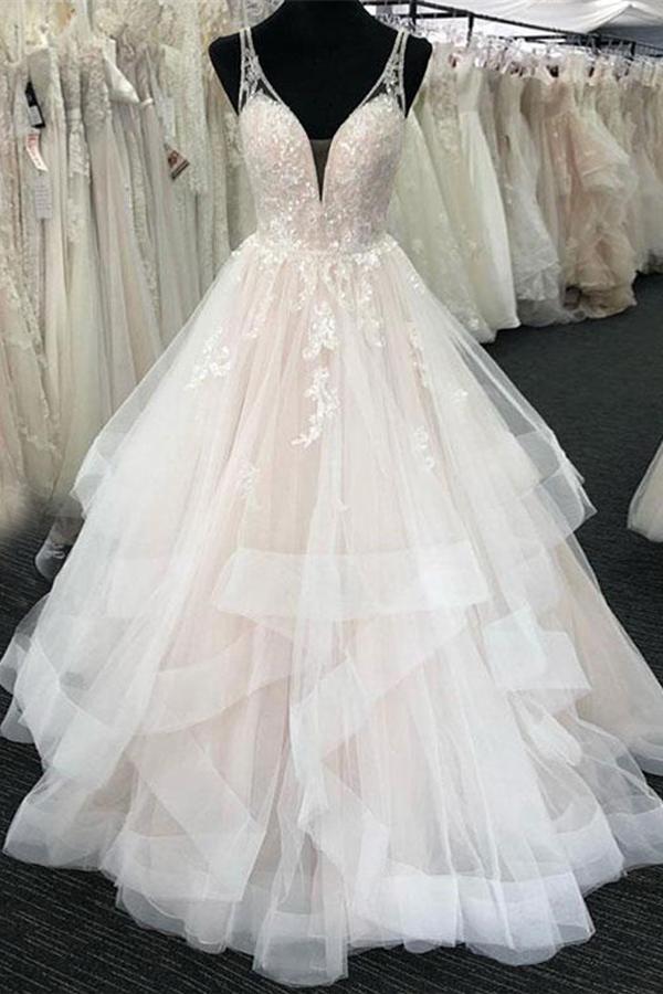 Straps Tiered Sequins Appliques Wedding Dress Outdoor Wedding Dress Wedding Dresses Wedding Dress Sequin