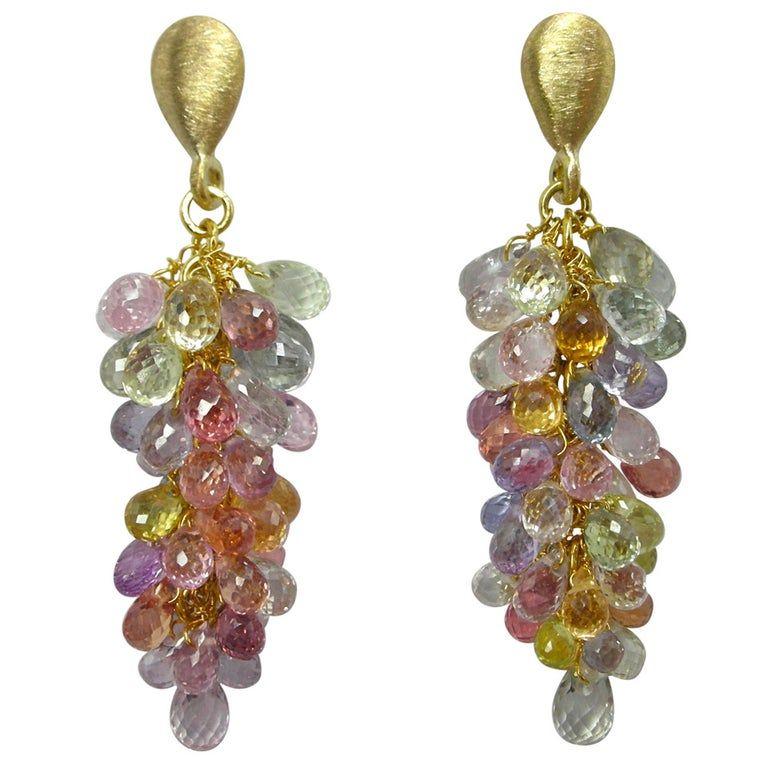Pink Sapphire Earrings Long Dangle Earrings Pink Purple Earrings Multi Gemstone Chandelier Earrings Gemstone Cascade Hoop Earrings 14K