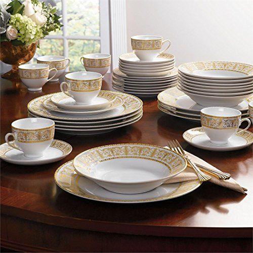Brylanehome 40 Pc Golden Ceramic Dinnerware Set Brylanehome Http Www Amazon Com Dp B005hvrcvm Ref C Ceramic Dinnerware Set Ceramic Dinnerware Dinnerware Set