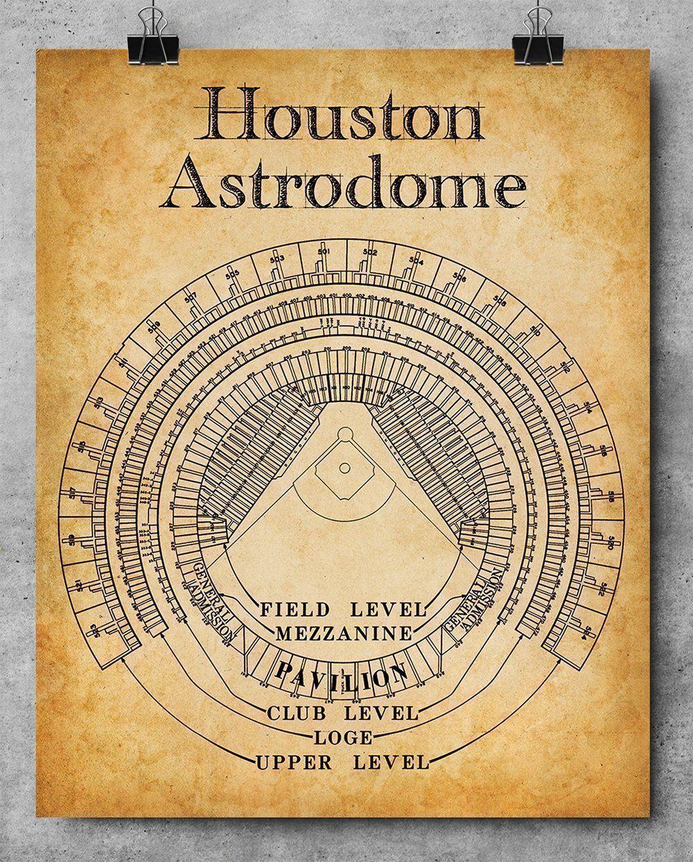 Houston Astrodome Stadium Seating Chart Art Print - 11x14 Unframed ...
