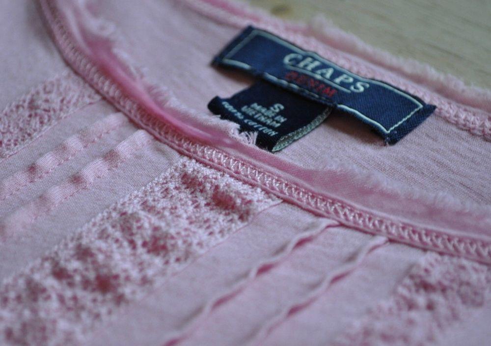 Ralph Lauren Chaps Pink lace knit top tee womens size Small 100% cotton t shirt #CHAPS #KnitTop #Versatile