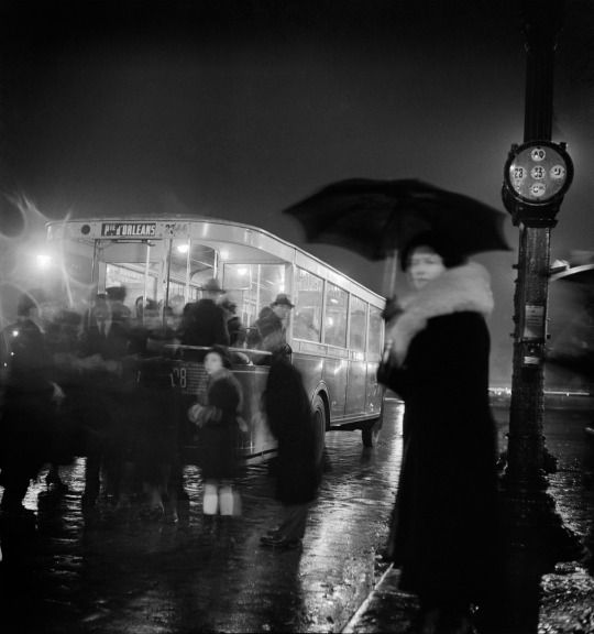by Roger Schall Bus stop, Paris, 1930s.