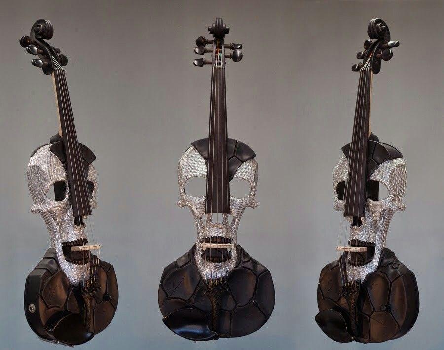 Skull violin by Jeff Stratton