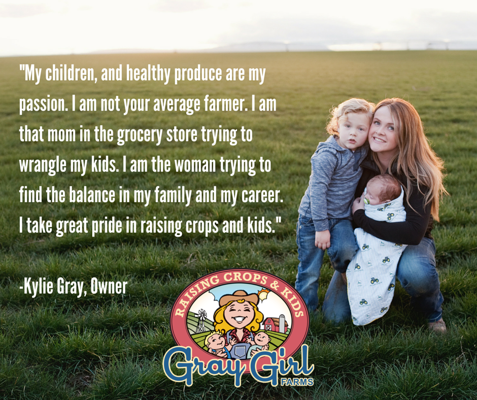 """My children, and healthy produce are my passion."" - Kylie Gray #familyfarming #healthykids #womeninag #motherhood www.graygirlfarms.com"