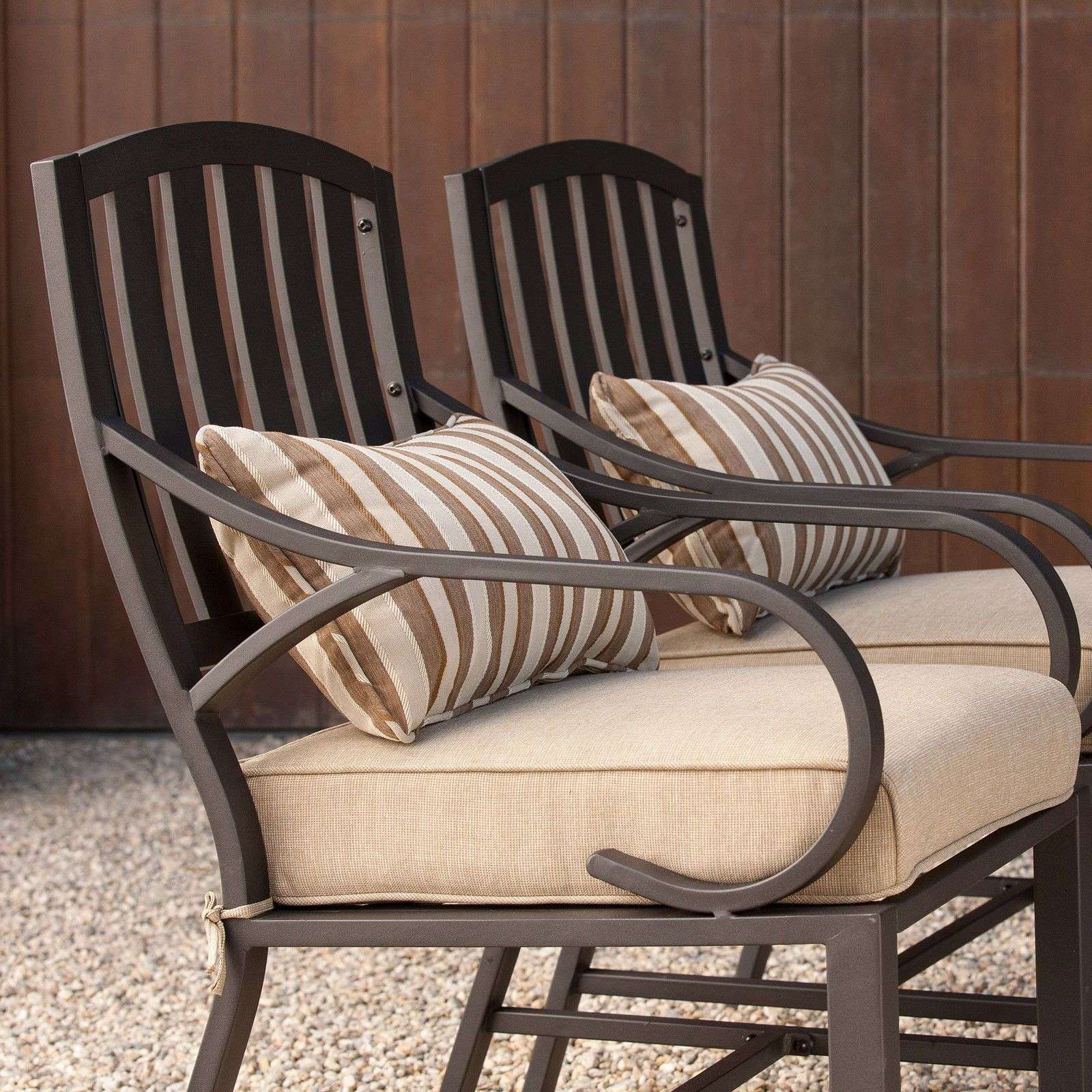Attrayant Patio Furniture Sets Clearance 7 Piece Cushion Dining Aluminum Swivel  Rockers   EBay