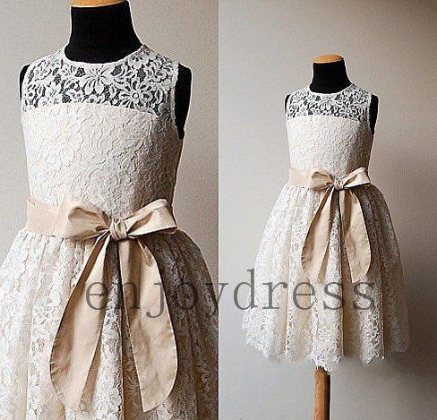 Cheap ivory lace flower girl dresses