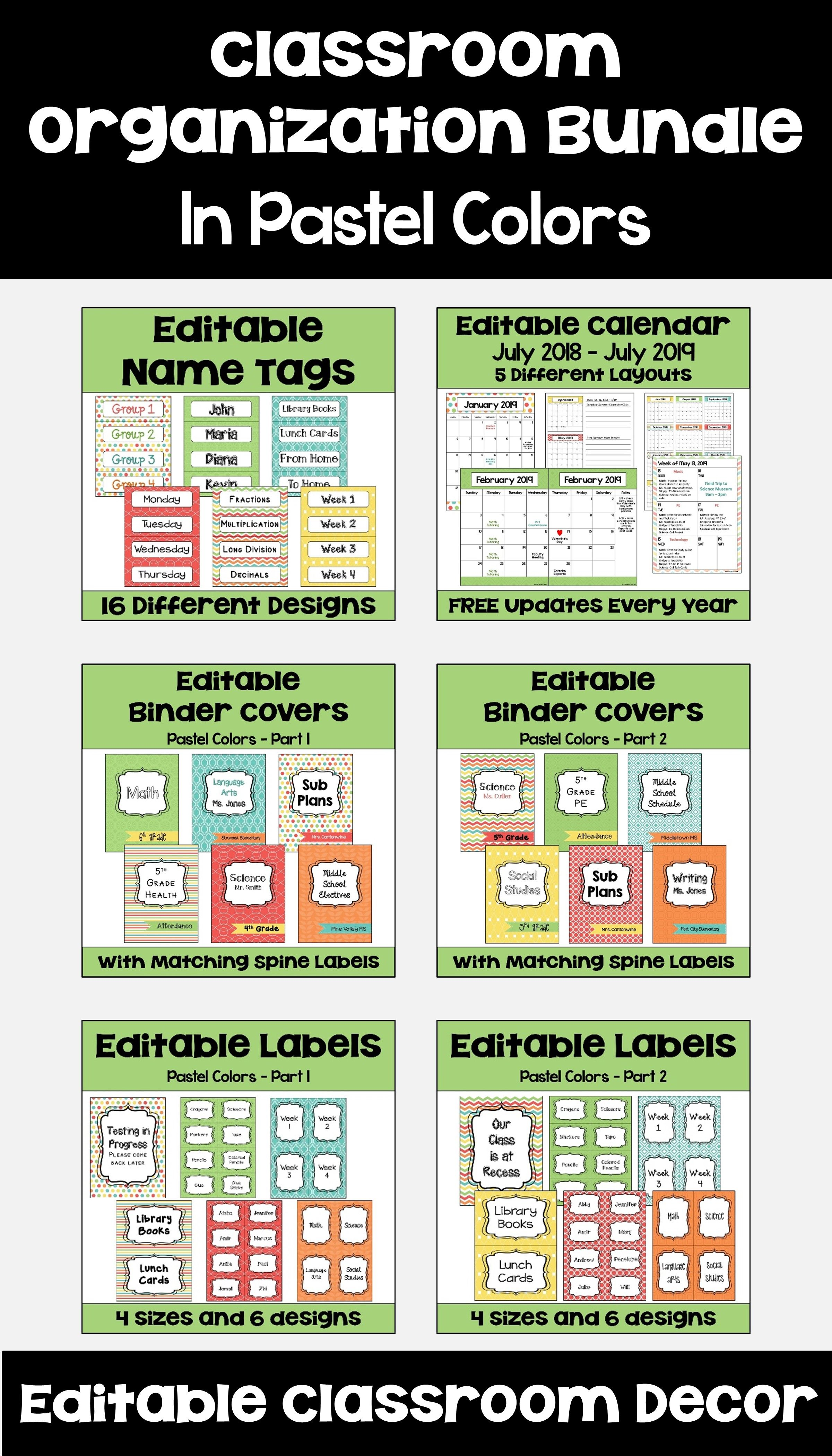 Classroom Organization Bundle In Pastel Colors