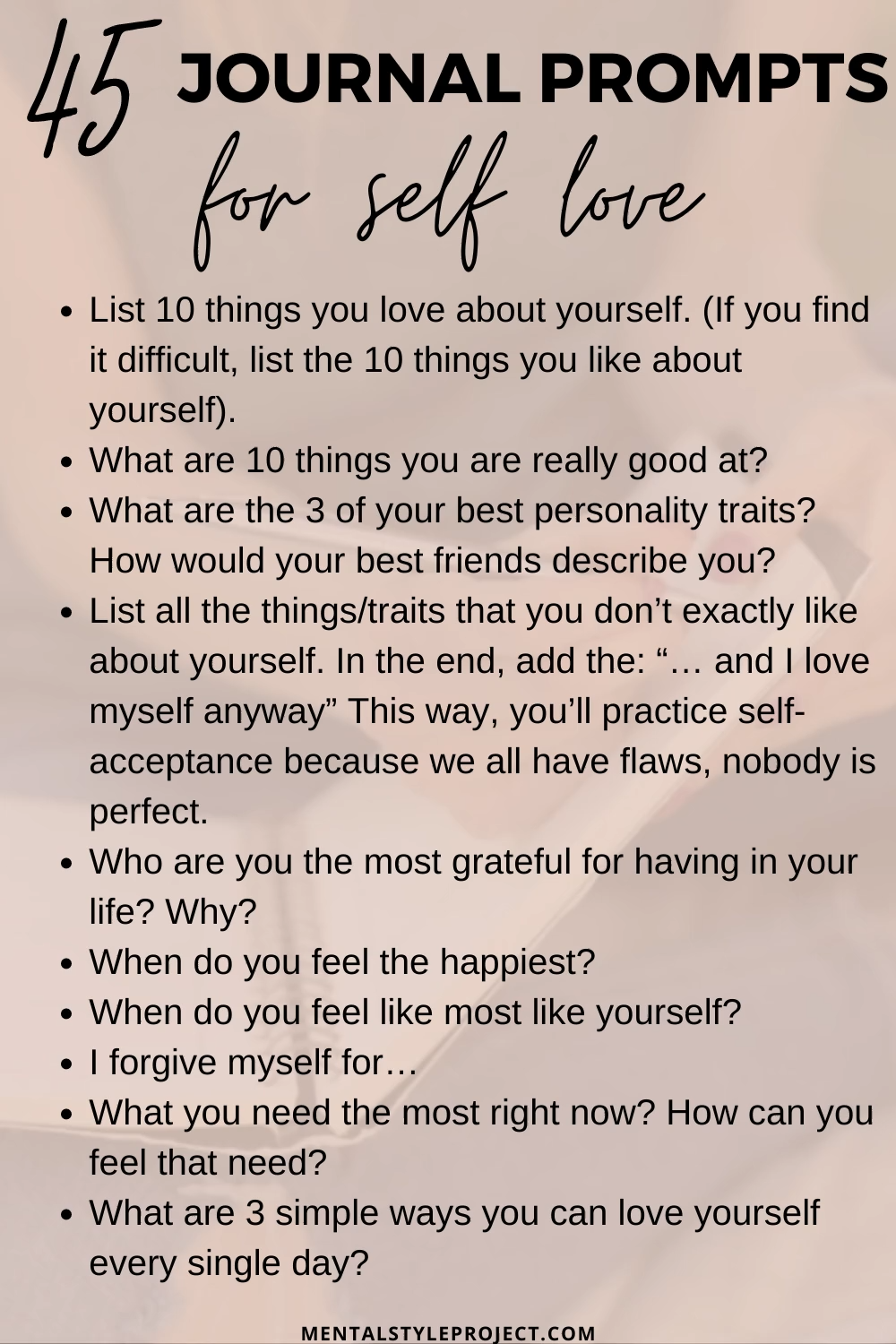 45 Journal Prompts For Self Love