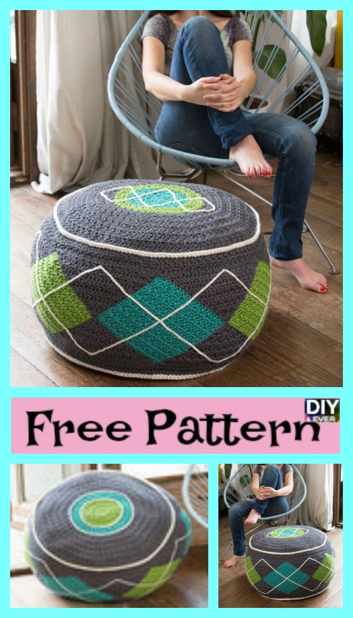 Stylish Crochet Ottoman - Free Pattern | Crochet, Knit crochet and ...