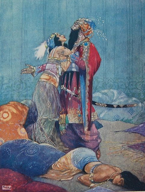 """Illustration for the ballet """"Scheherazade"""" in The Russian Ballet by A. E. Johnson. Illustration by René Bull."""