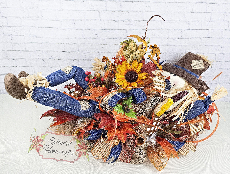 Scarecrow Centerpiece, Fall Centerpiece, Scarecrow Table Decor, Harvest Centerpiece, Fall