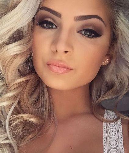 Glamorous Soft Orange Makeup Look Brown Eyes Blonde Hair Blonde