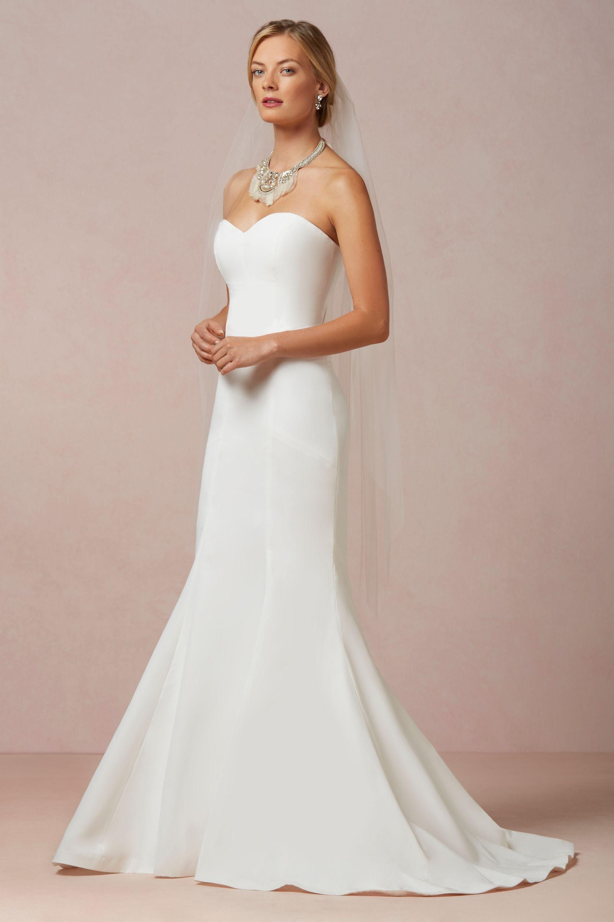 Plain White Strapless Wedding Dress