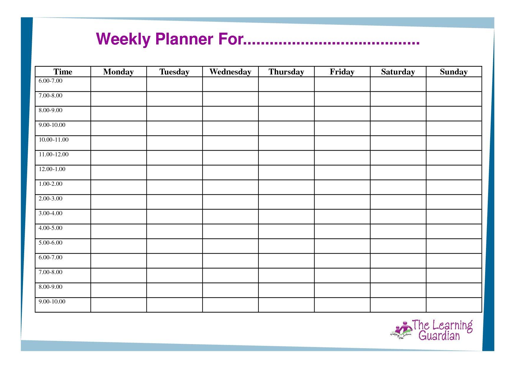 Free Printable Weekly Calendar Templates Weekly Planner For Time Free Printab Weekly Calendar Template Weekly Calendar Printable Free Printable Weekly Calendar One week calendar with hours