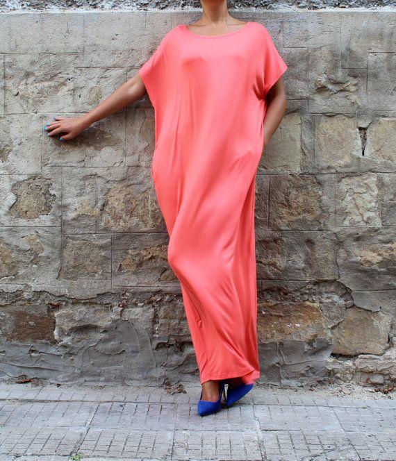Backless Coral Caftan Maxi dress Abaya Plus от cherryblossomsdress