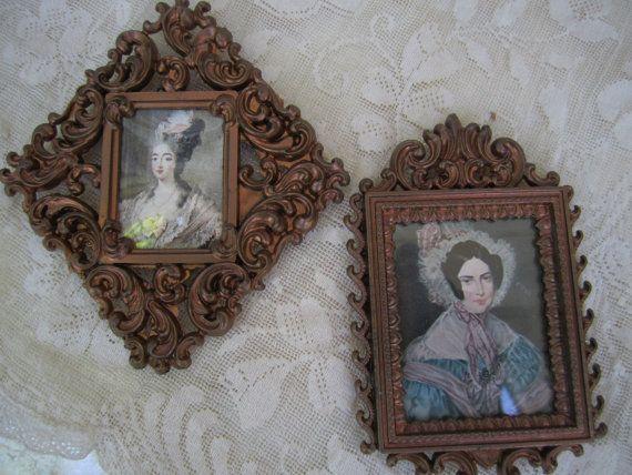 Vintage Miniature Frames Aged Metal Filigree Frames Miniature ...