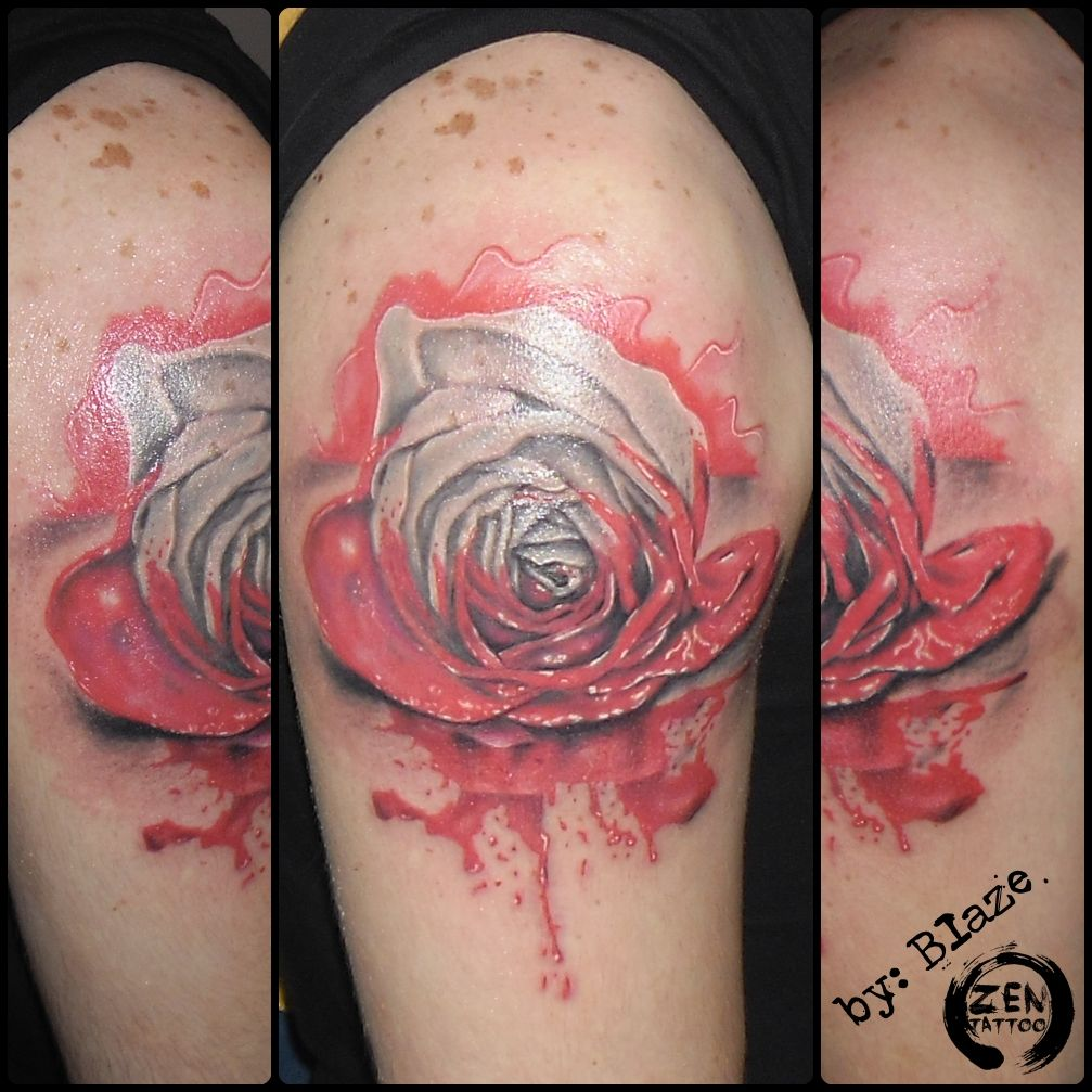 Red paint rose; tattoo by Blaze  http://www.facebook.com/zentattoozagreb