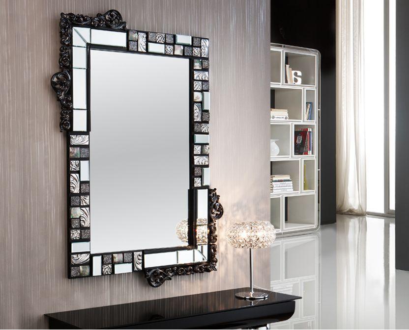 Espejos originales mosaic negro plata decoracion beltran for Espejos originales recibidor